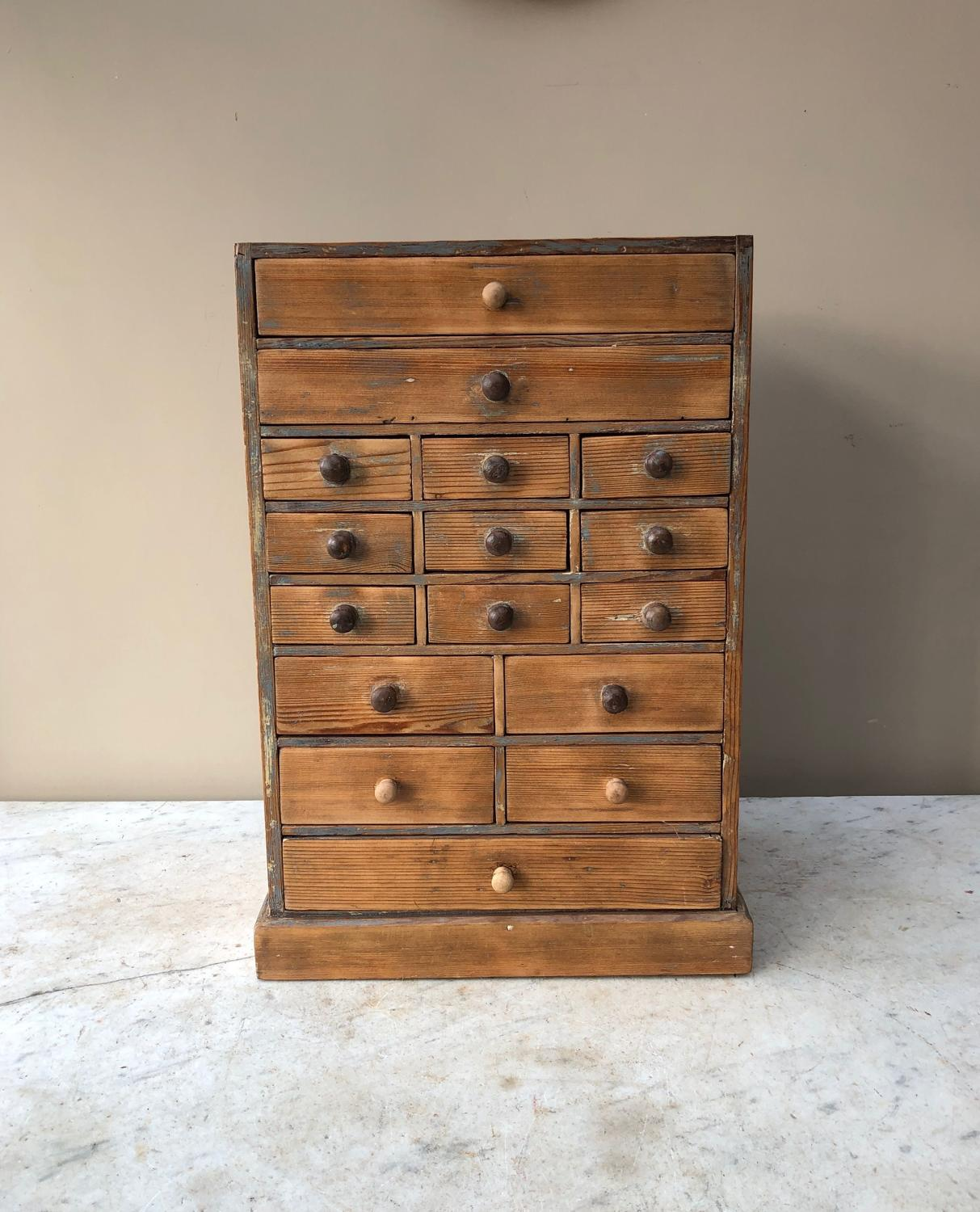 Early 20th Century Pine Watchmakers Bank of Sixteen Drawers