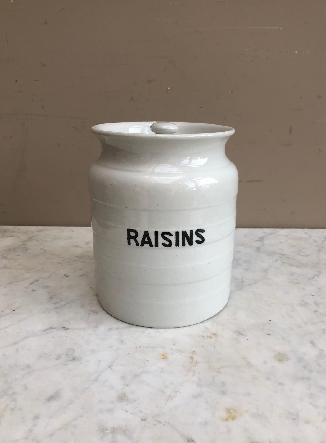 Early 20thC White Banded Kitchen Storage Jar - Raisins