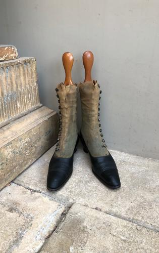 Victorian Lady's Boots Complete with Treen Boot Trees