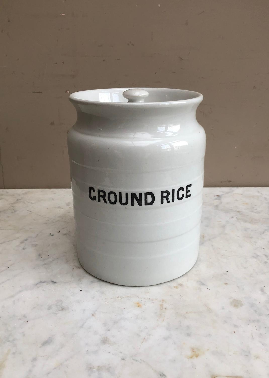 Early 20thC White Banded Kitchen Storage Jar with Lid - Ground Rice