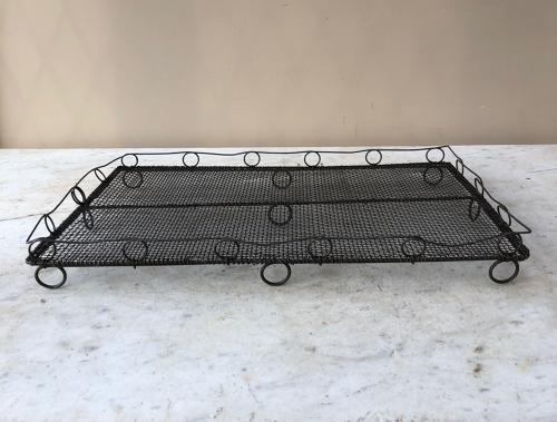 Large Early 20thC Wire Work Cake Cooling Rack with Ornate Sides