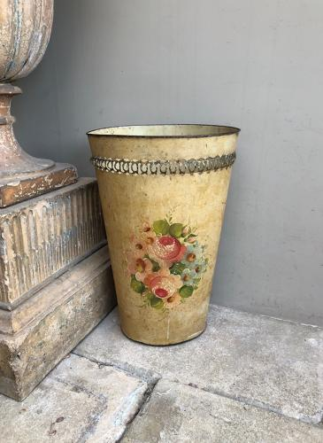 Early 20thC Large Toleware Waste Paper Basket - Umbrella Stand