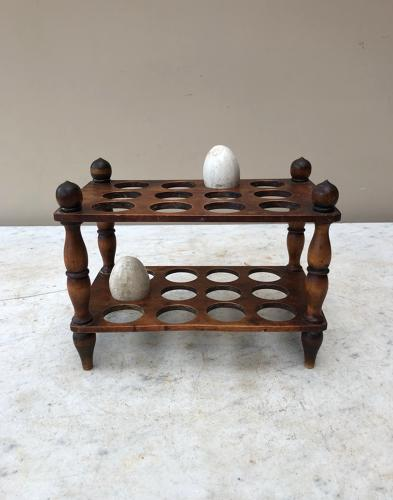 Victorian Treen Two Tier Egg Rack for Two Dozen Eggs c.1880