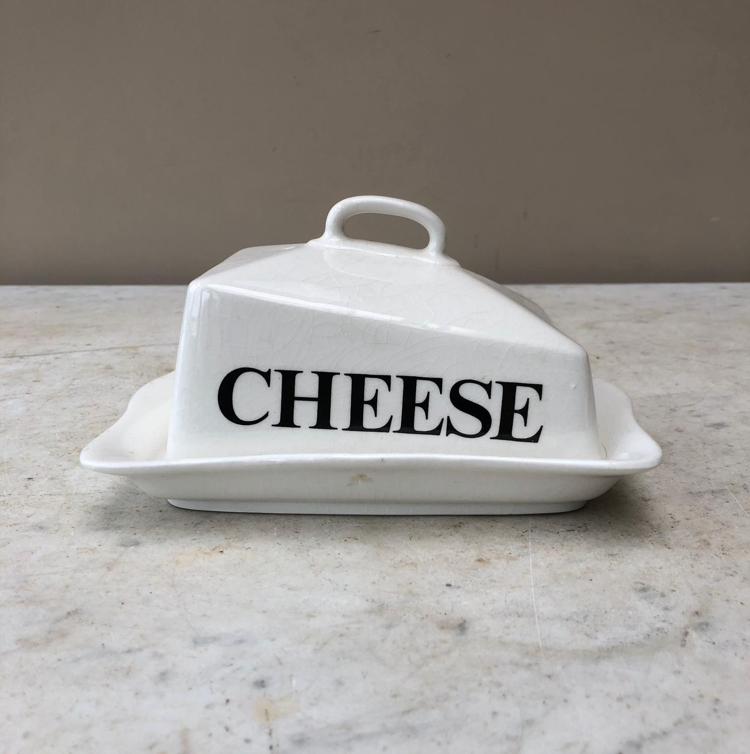 Rare Early 20th Century White Ironstone Cheese Dish & Original Stand