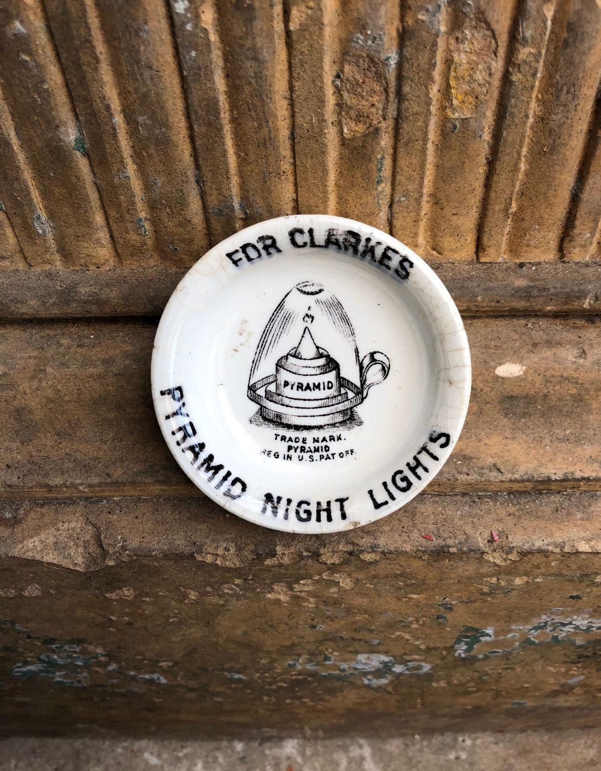 Edwardian Advertising Clarkes Pyramid Night Light Holder