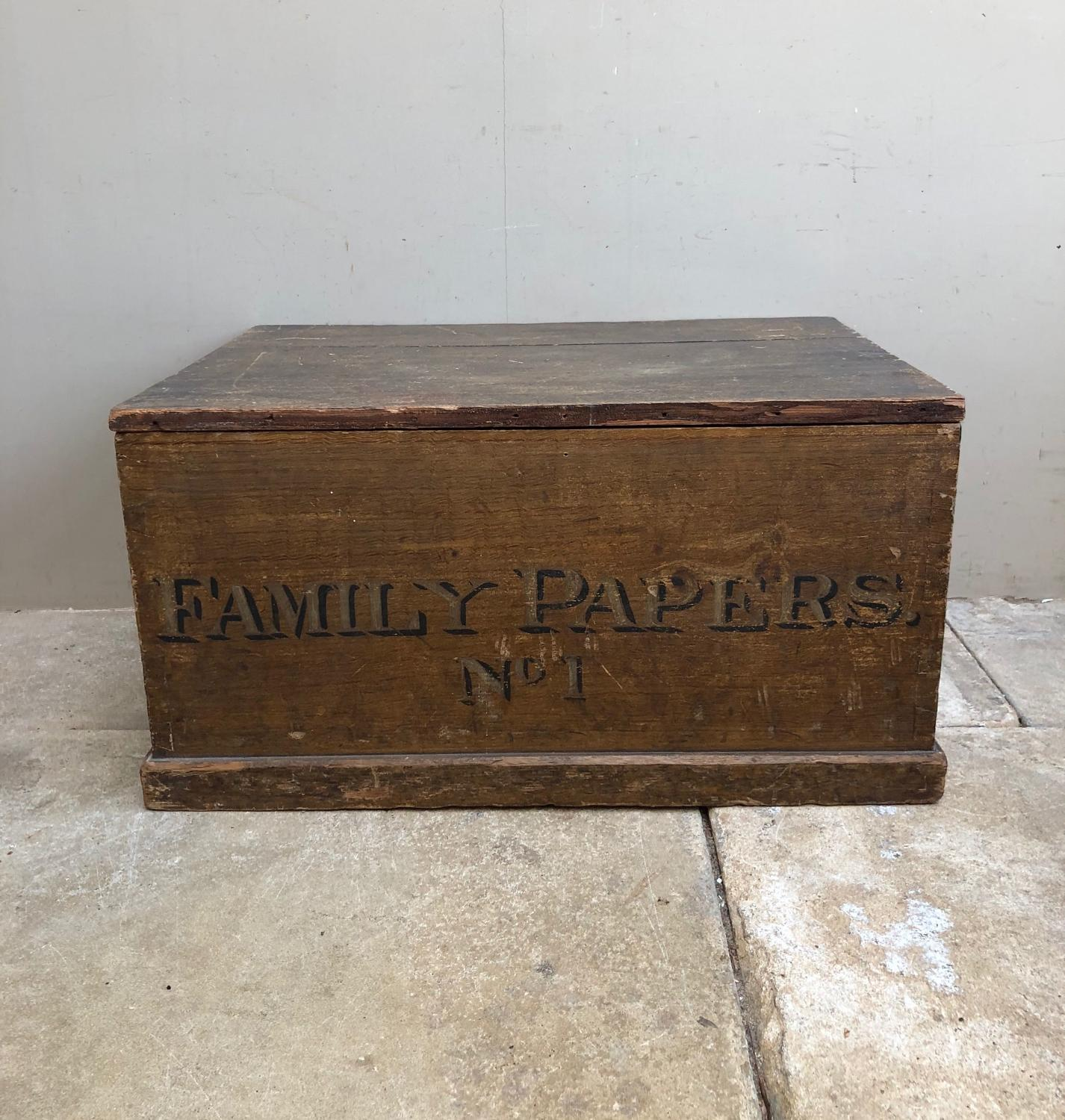 Victorian Pine Box in Original Paint - Family Papers No.1