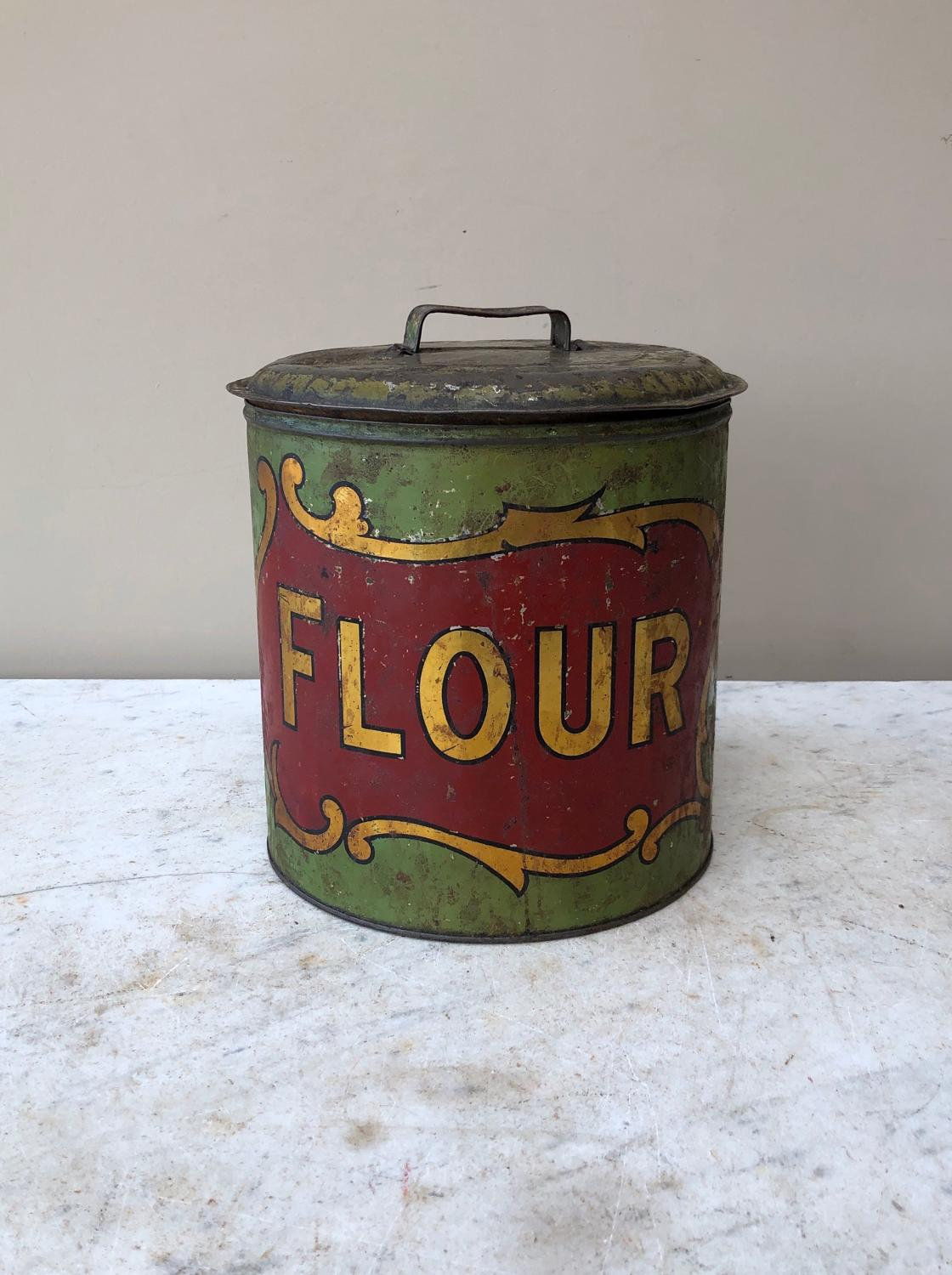 Late Victorian Rare Toleware Flour Tin with Original Lid