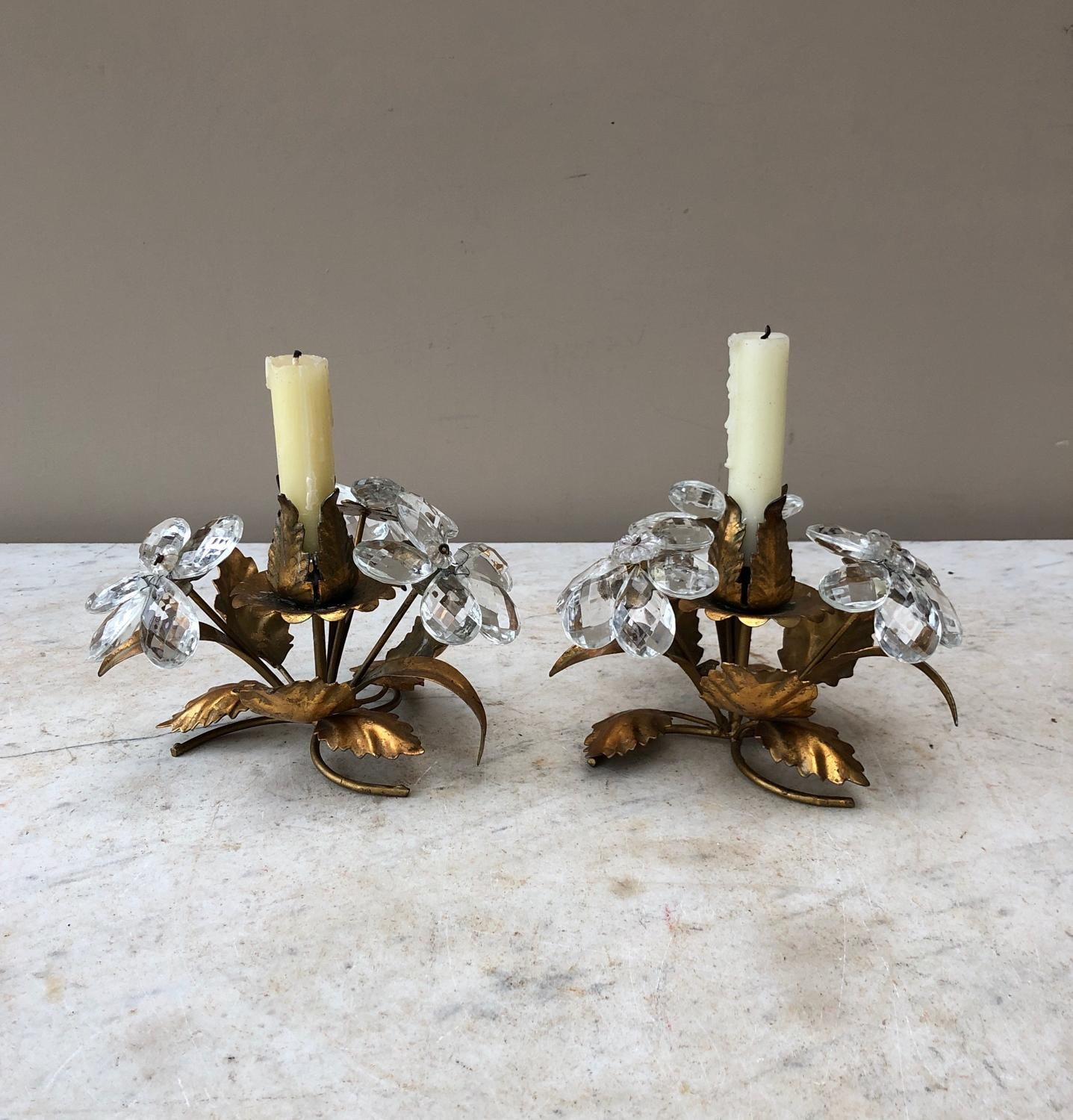 Pair of 1950s Gilt Candleholders with Crystal Glass Flowers