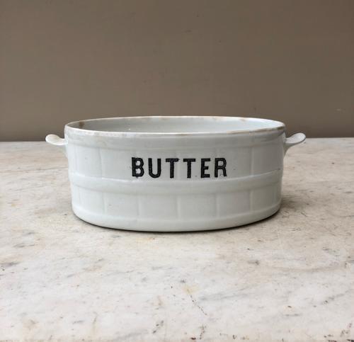 Large Edwardian White Ironstone Banded Butter Dish