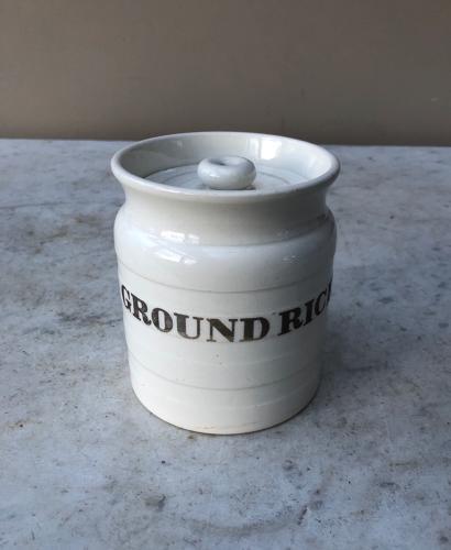 Late Victorian White Banded Kitchen Storage Jar - Ground Rice