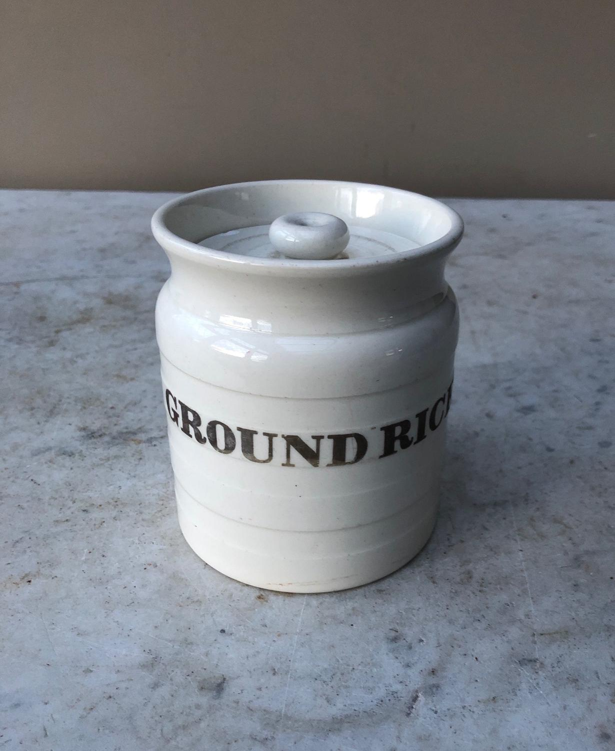Late Victorian White Banded Kitchen Storage Jar - Ground Rice