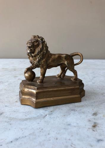 C1930s Gilded Spelter Lion - Good Desk Paperweight