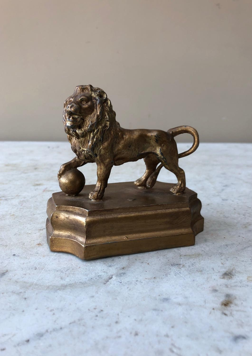 C1930s Gilded Spelter Lion - Good Desk Paperweight