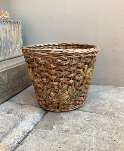 Early 20thC Woven Floral Front Waste Paper Basket