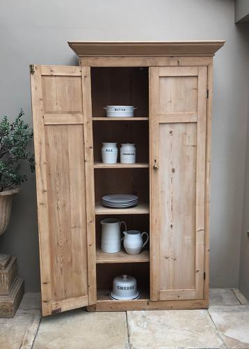 Victorian Pine Panelled Front Cupboard - Great for Larder or Crockery