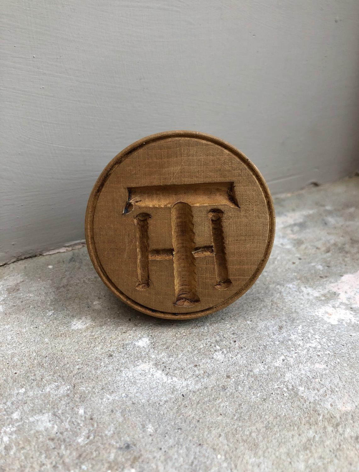 Early 20th Century Butter Stamp - For Initials TH or HT
