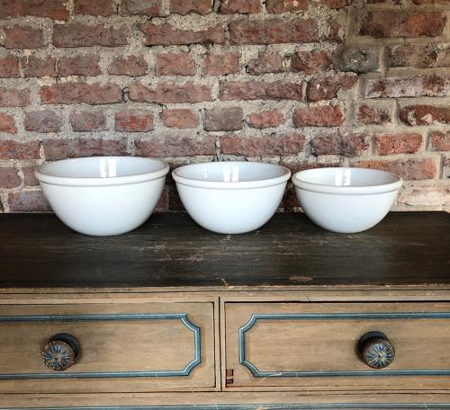 Edwardian Set of Three Graduating White Ironstone Kitchen Bowls