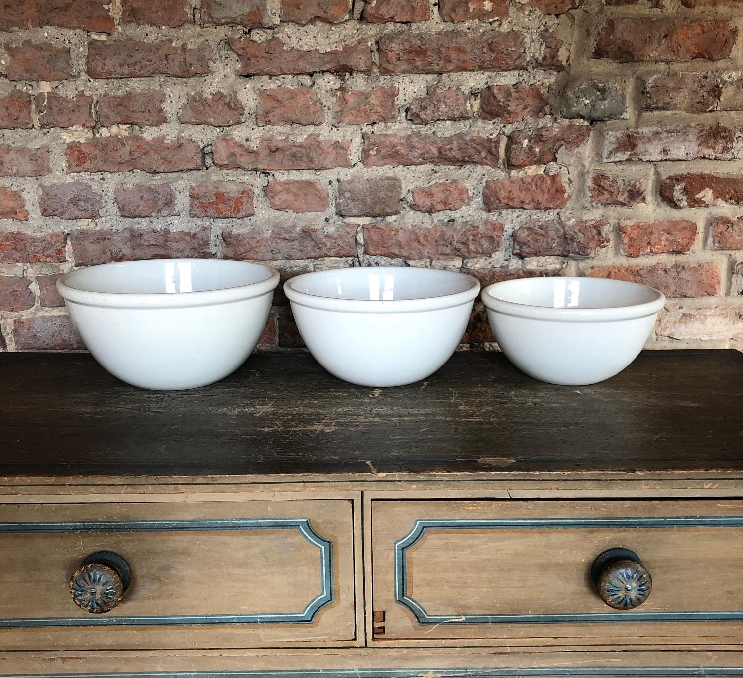 Edwardian Set of Three Graduating White Ironstone Kitchen Bowls