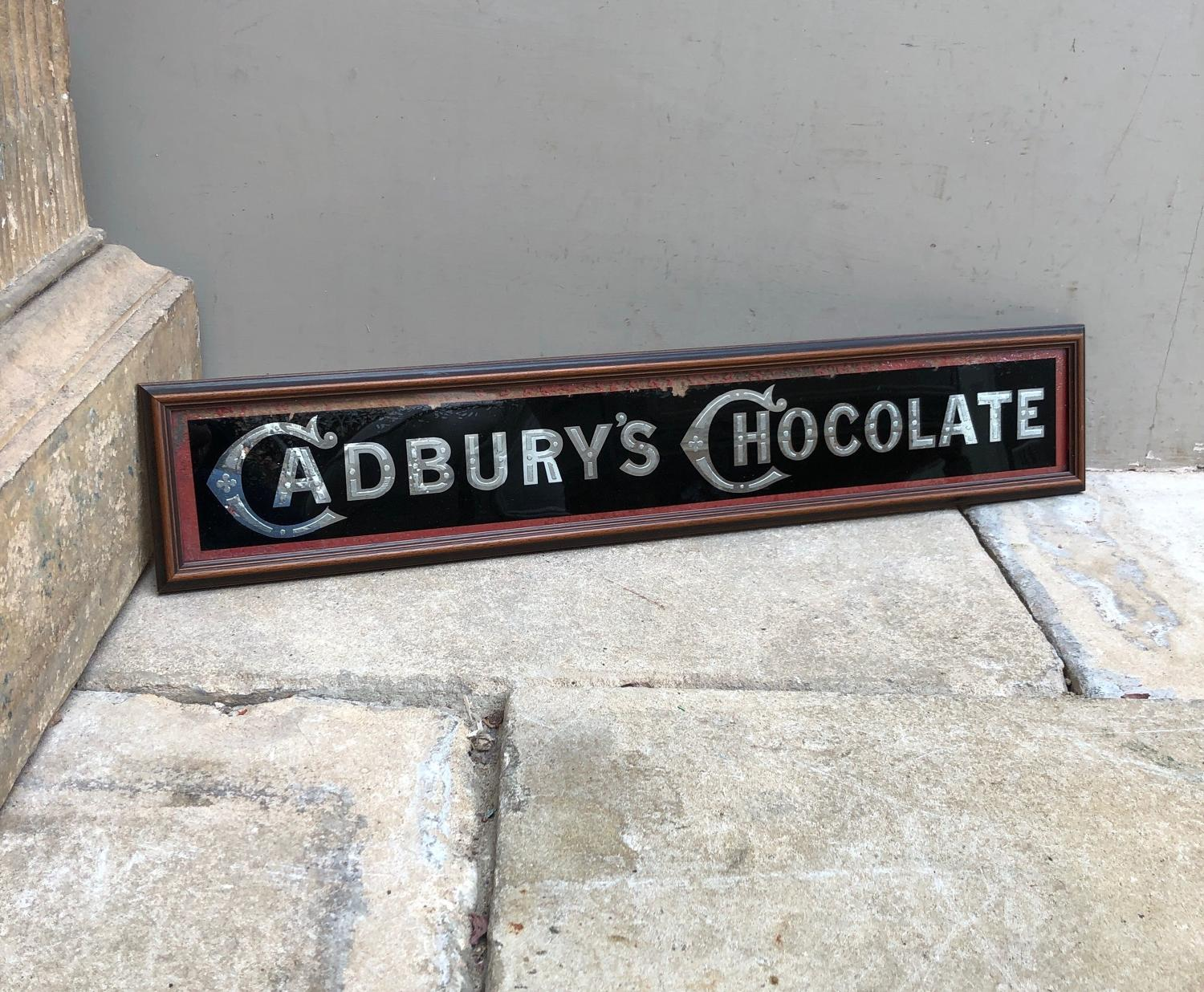 Edwardian Glass Reverse Painted Advertising Sign - Cadburys Chocolate