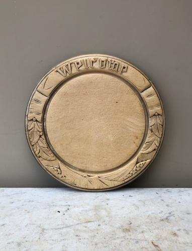 Victorian c.1890 Well Carved Bread Board - Welcome