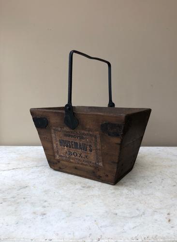 Wonderful Antique Pine Housemaid's Box with Rare Original Label