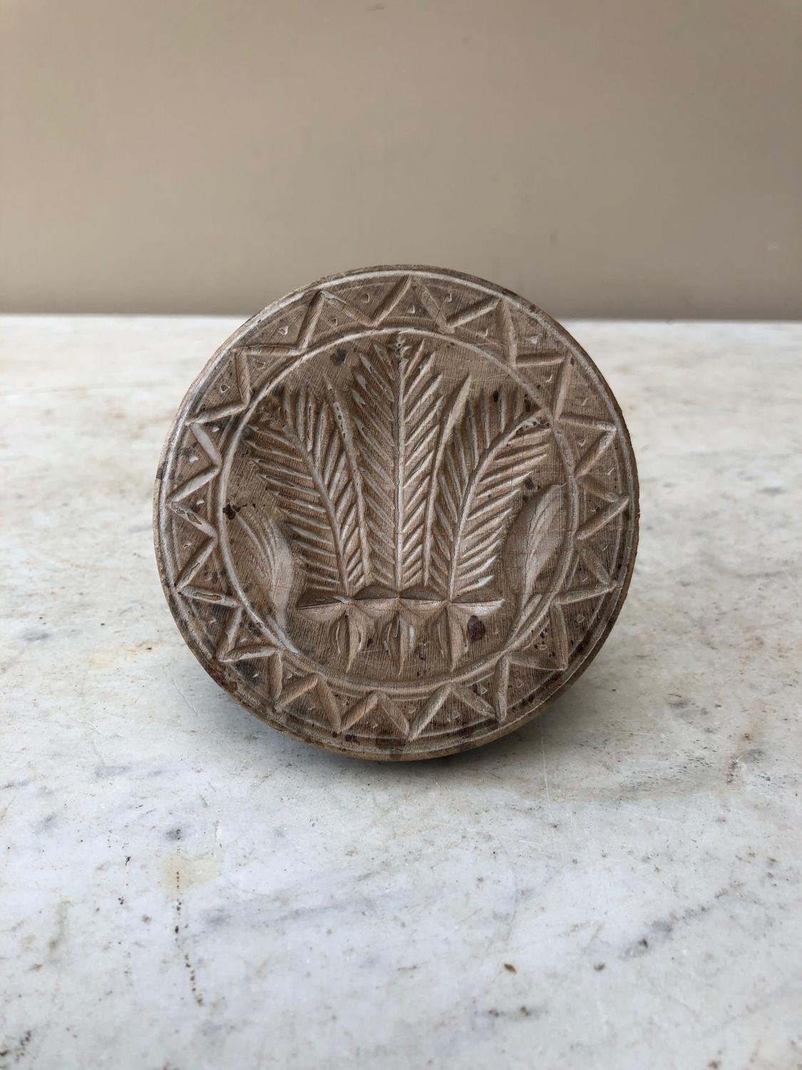 Victorian Treen Butter Stamp - Prince of Wales Feathers
