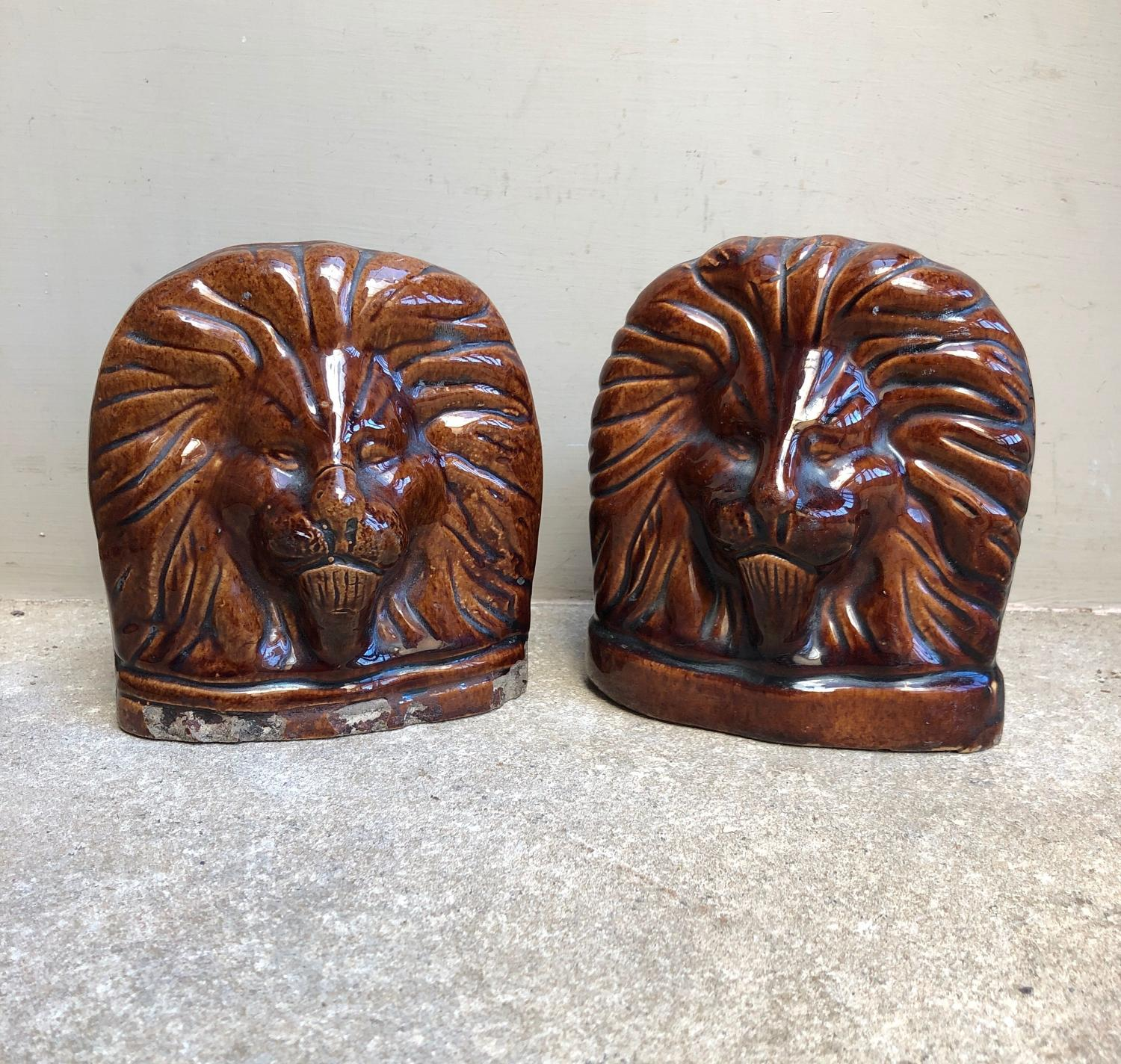 Mid Victorian Sash Window Stops - Regal Lions. c1860