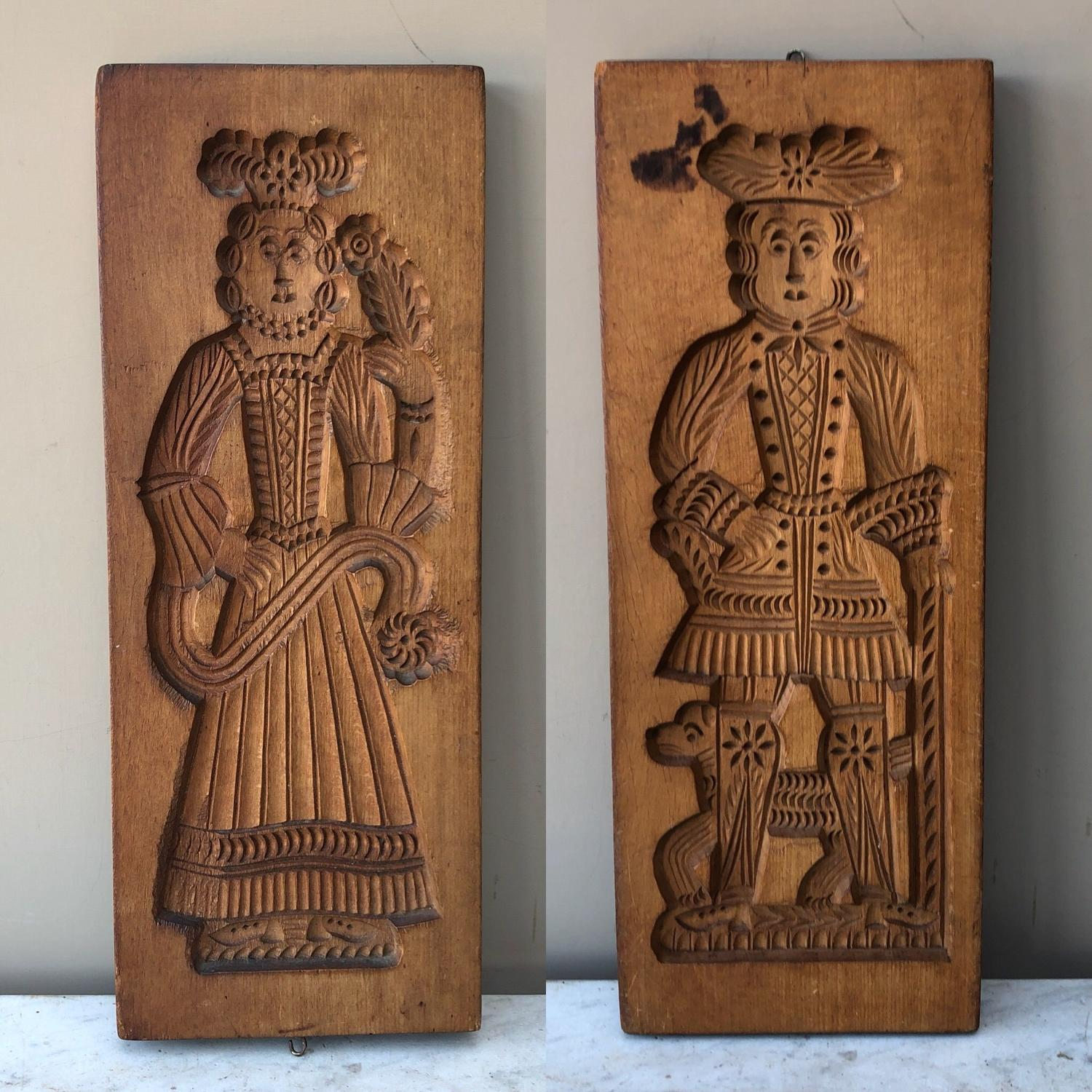 Superb Large Victorian Double Sided Deeply Carved Gingerbread Mould