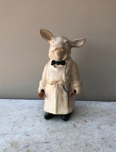 Genuine 1930s Butchers Rubberoid Display Pig - Complete with Utensils