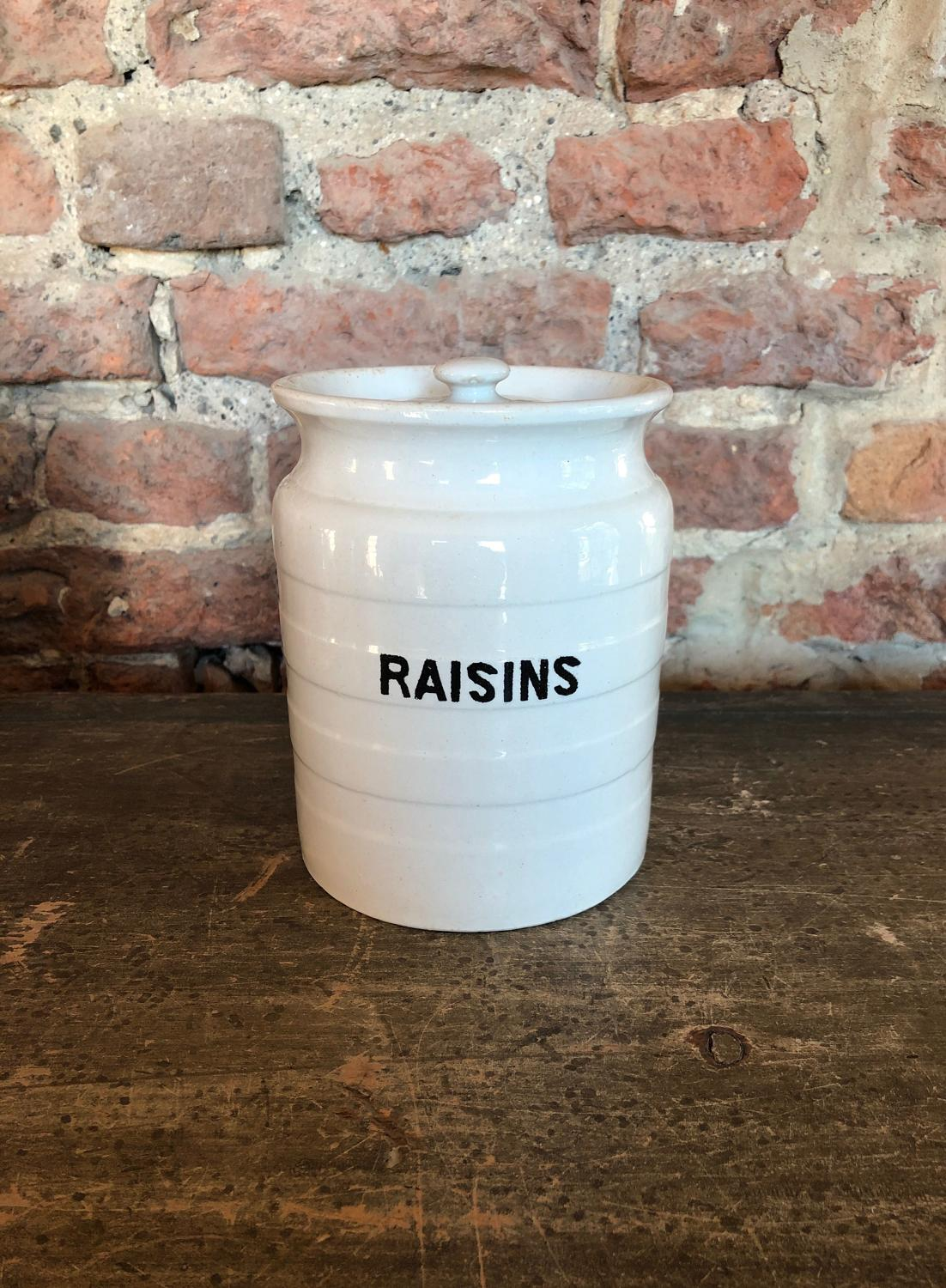 Early 20th Century White Banded Kitchen Storage Jar - Raisins