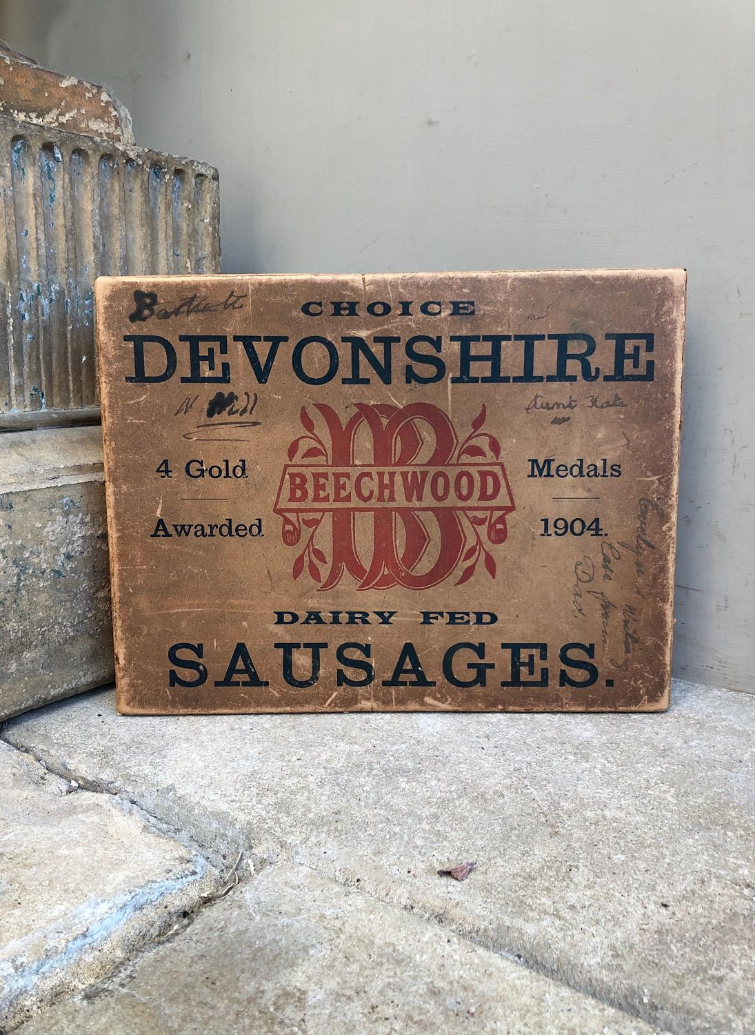 Early 20th Century Decorative Choice Devonshire Sausages Box