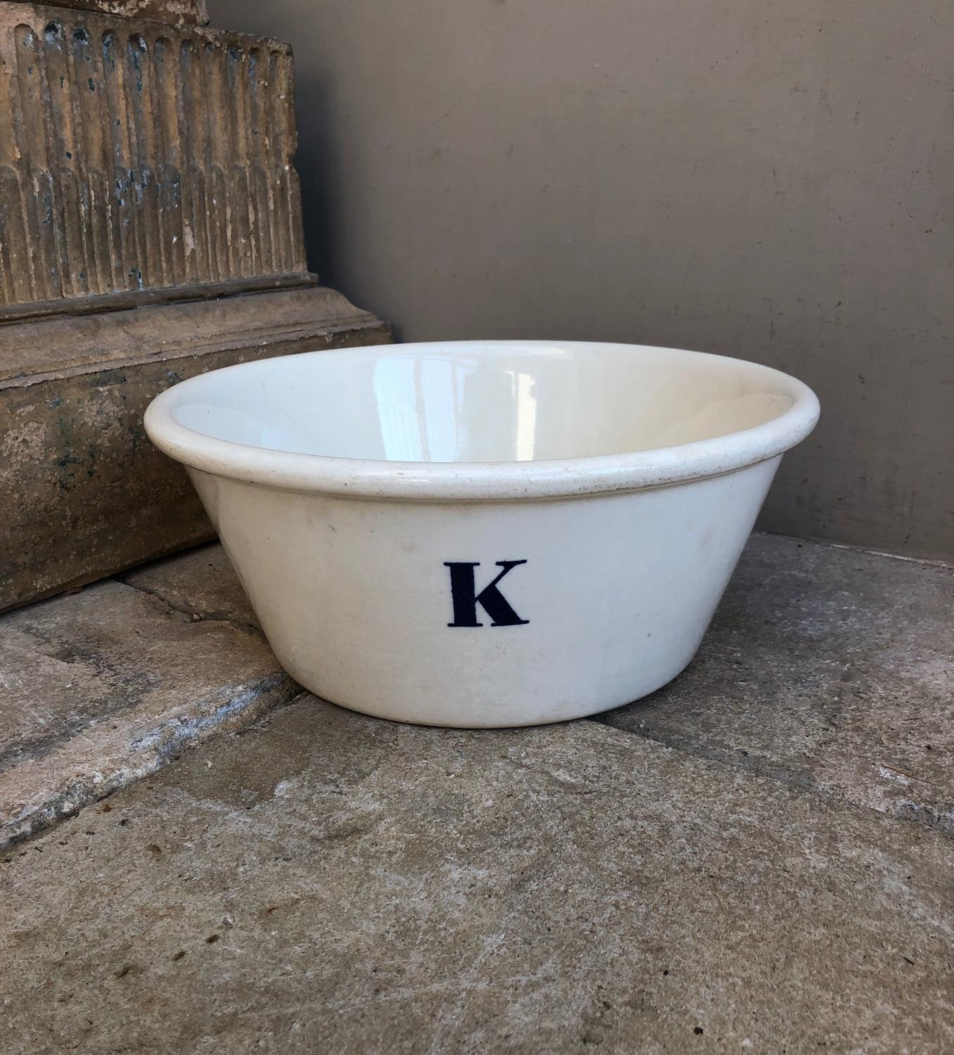 Edwardian White Ironstone K for Kitchen Bowl - Minton Stamp