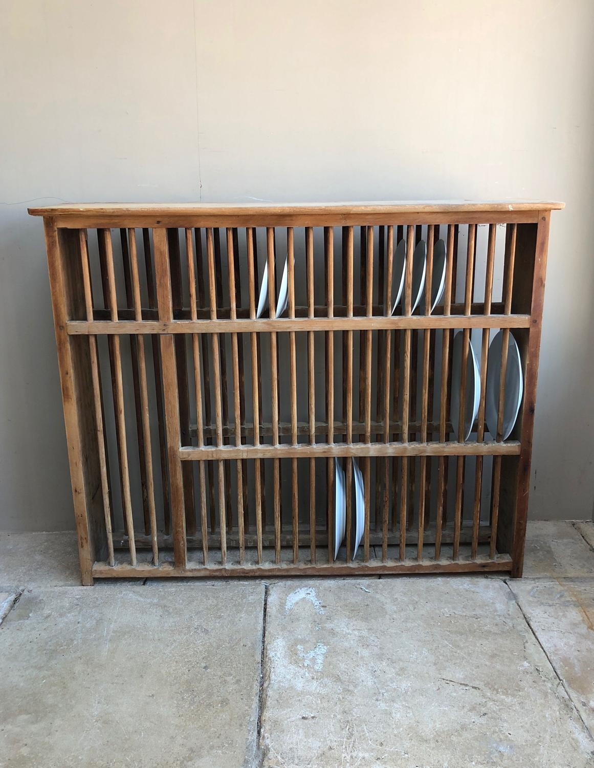 Huge Victorian Pine Country House Wall Hung Plate Rack