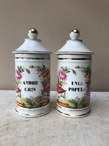 Large Pair of 1920s Decorative Perfumers Chemists Jars