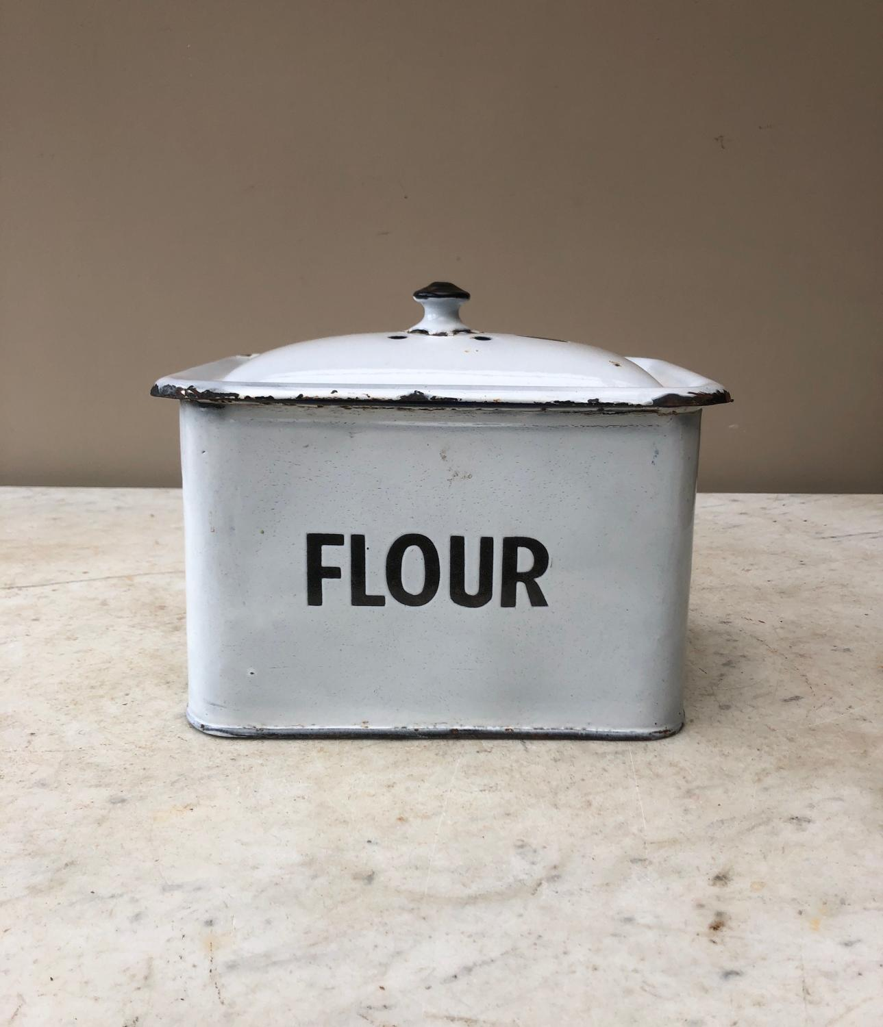 Unusually Small Early 20th Century White Enamel Flour Bin