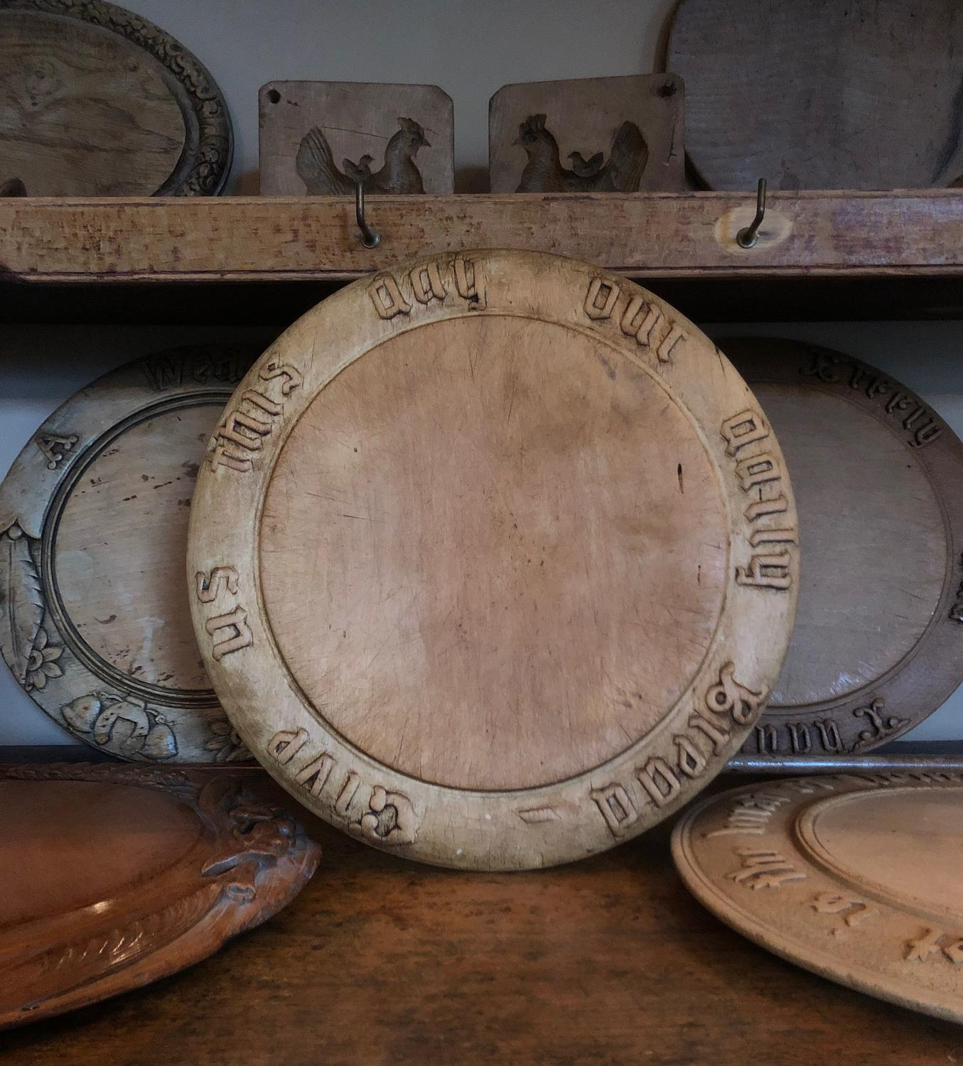 Victorian Carved Bread Board - Give Us This Day Our Daily Bread