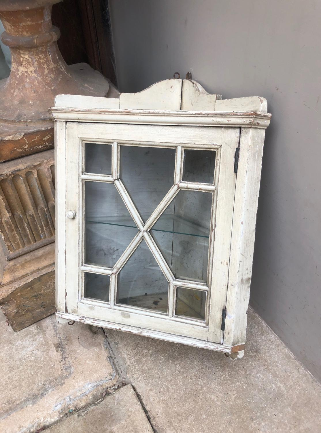 Late Victorian Small Pine Glazed Front Corner Cupboard - Orig Paint