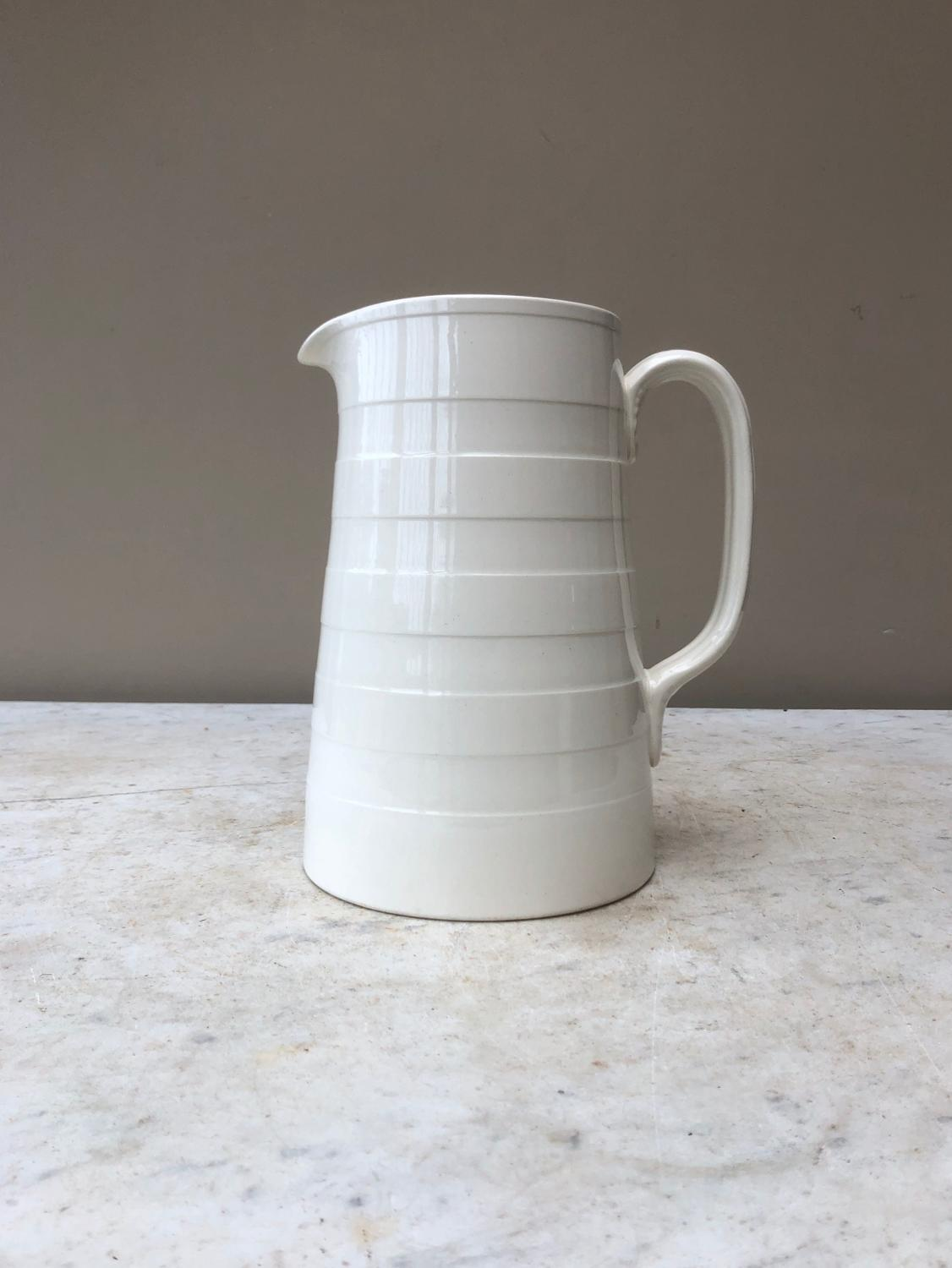 Excellent Condition Edwardian White Banded Large Dairy Cream Jug
