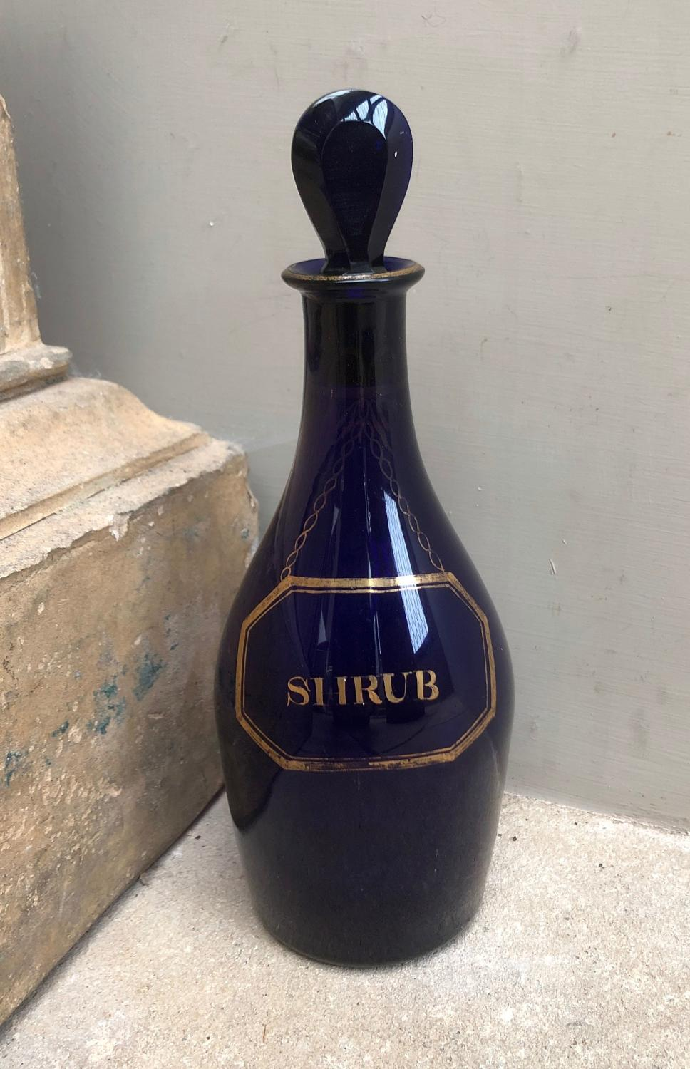 Rare Georgian Cobalt Blue Glass Decanter for Shrub - Gilt Detailing
