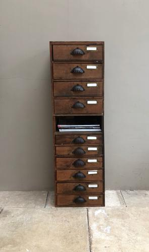 Early 20th Century Pine Flight of Ten Workshop Drawers