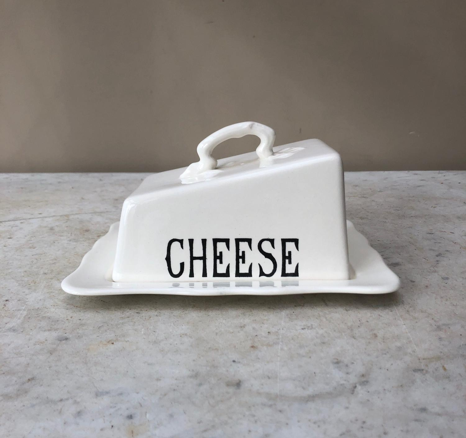 Excellent Condition Mid Century White Ironstone Cheese Dish with Stand