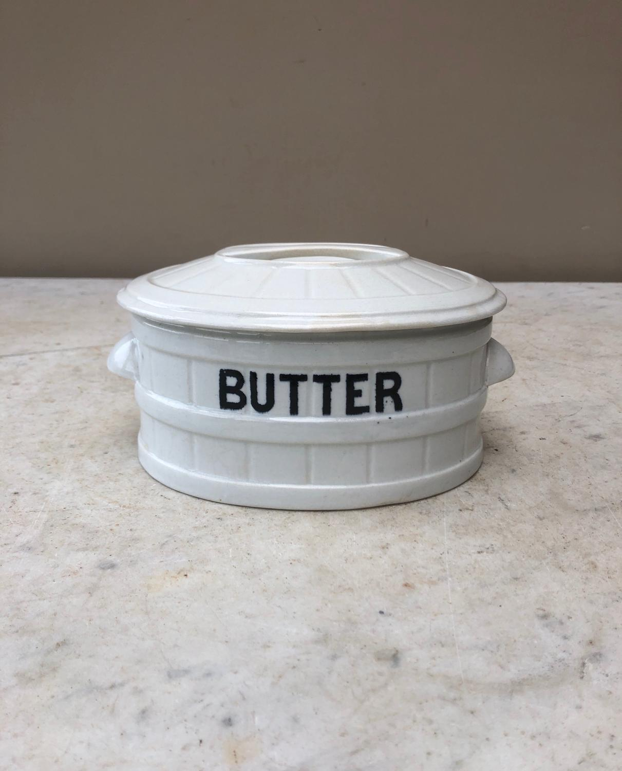 Late Victorian White Banded Butter Dish in Lovely Condition