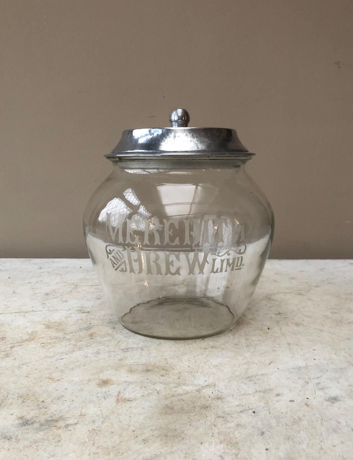 The Rarer Shape Shops Glass Advertising Jar - Meredith & Drew