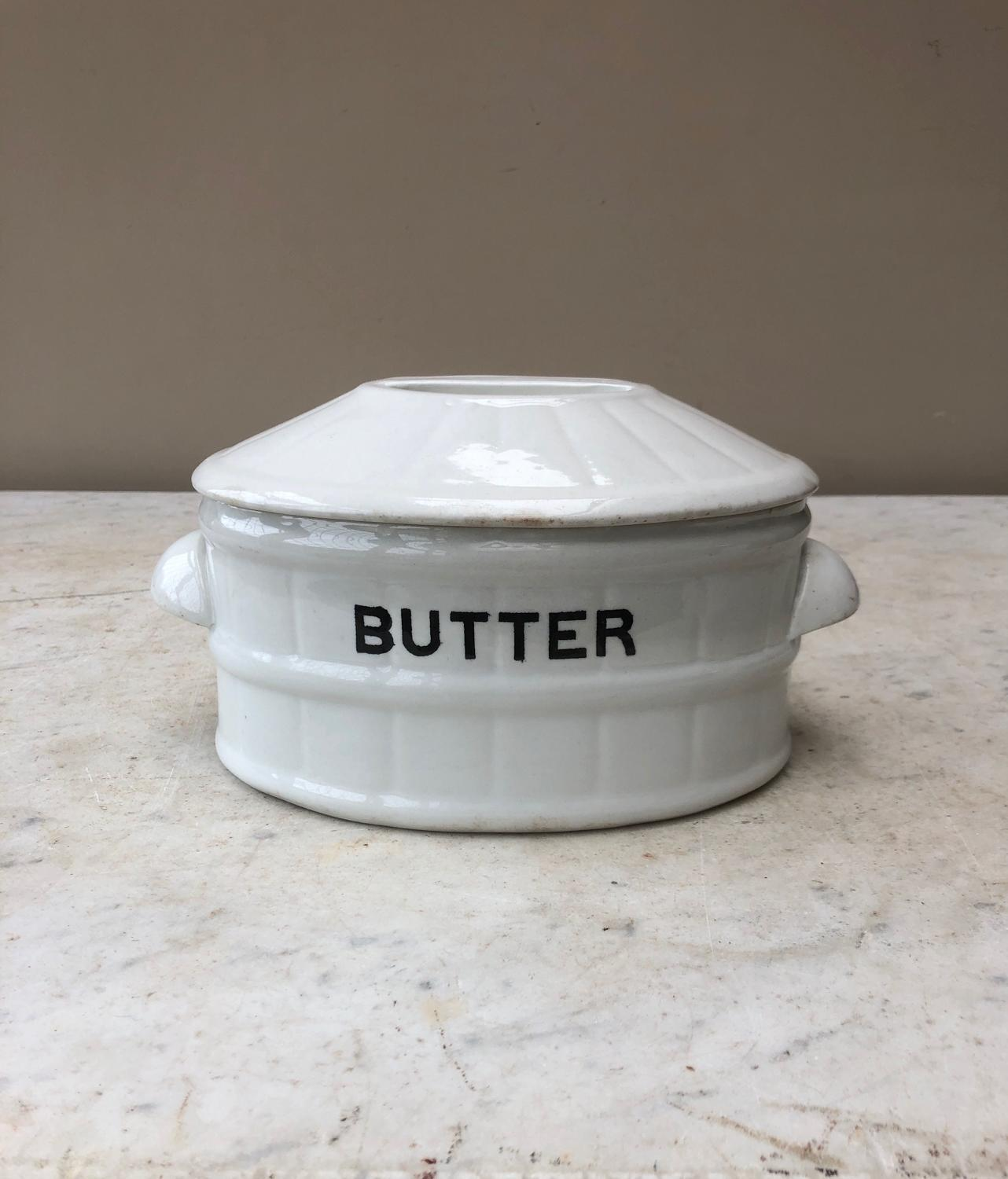 Large Edwardian White Banded Butter Dish with Original Lid