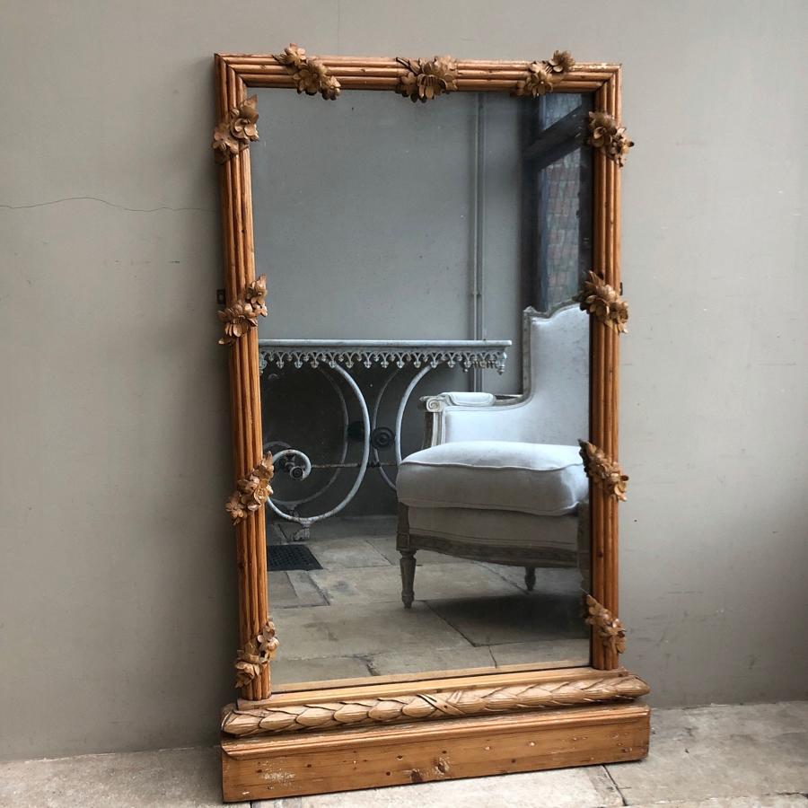 Superb Victorian Pine Mirror - Carved Floral Surround - Original Plate