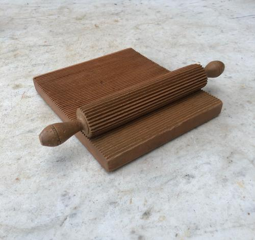 Victorian Treen Crimping Rolling Pin with its Original Board