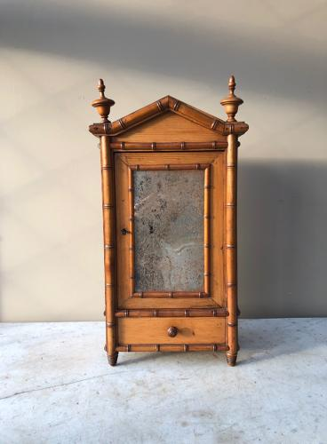 Victorian Pine Faux Bamboo Shelved Cupboard with Drawer