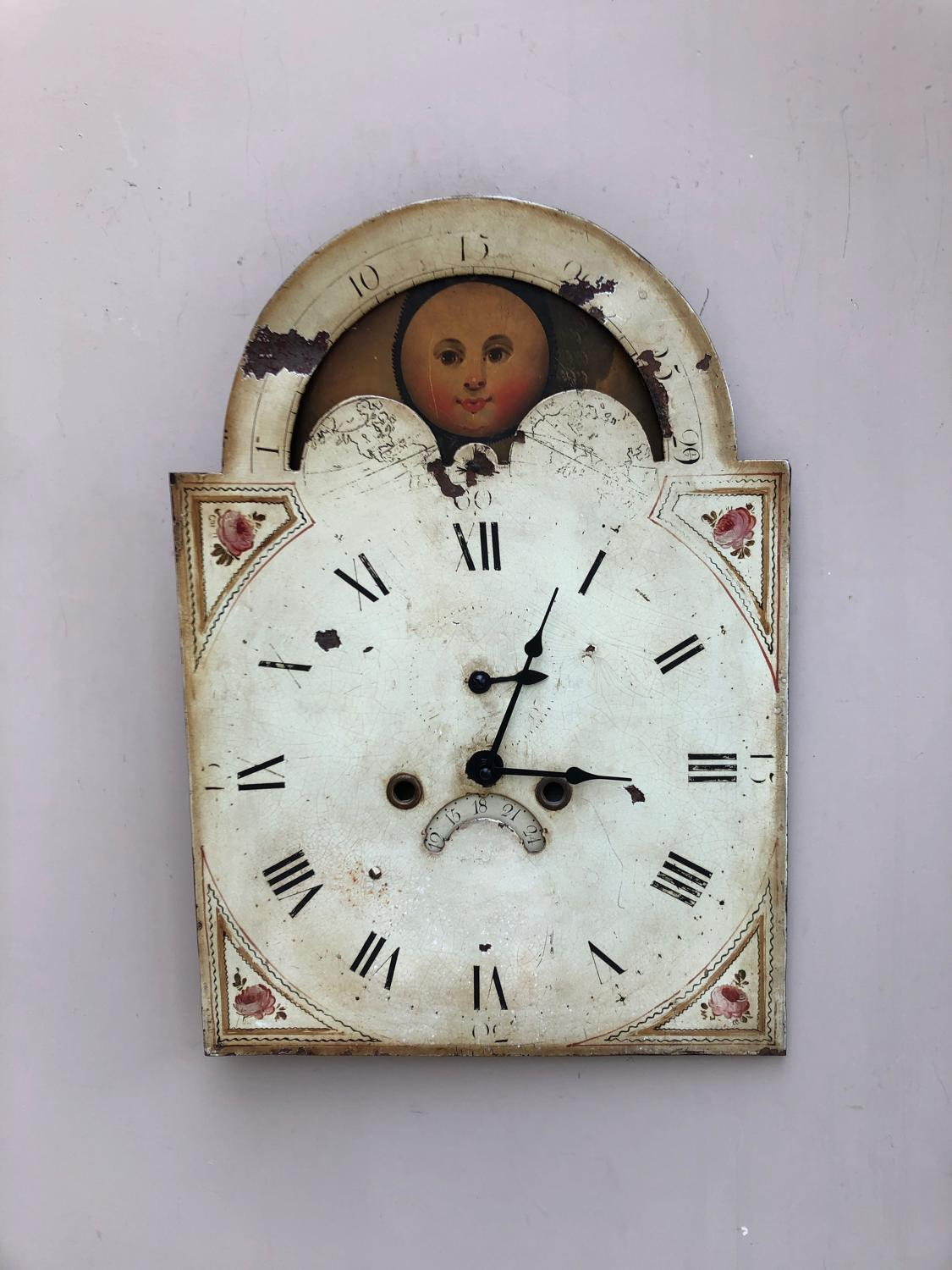 Georgian Toleware Man in the Moon Clock Face - Quartz Clock