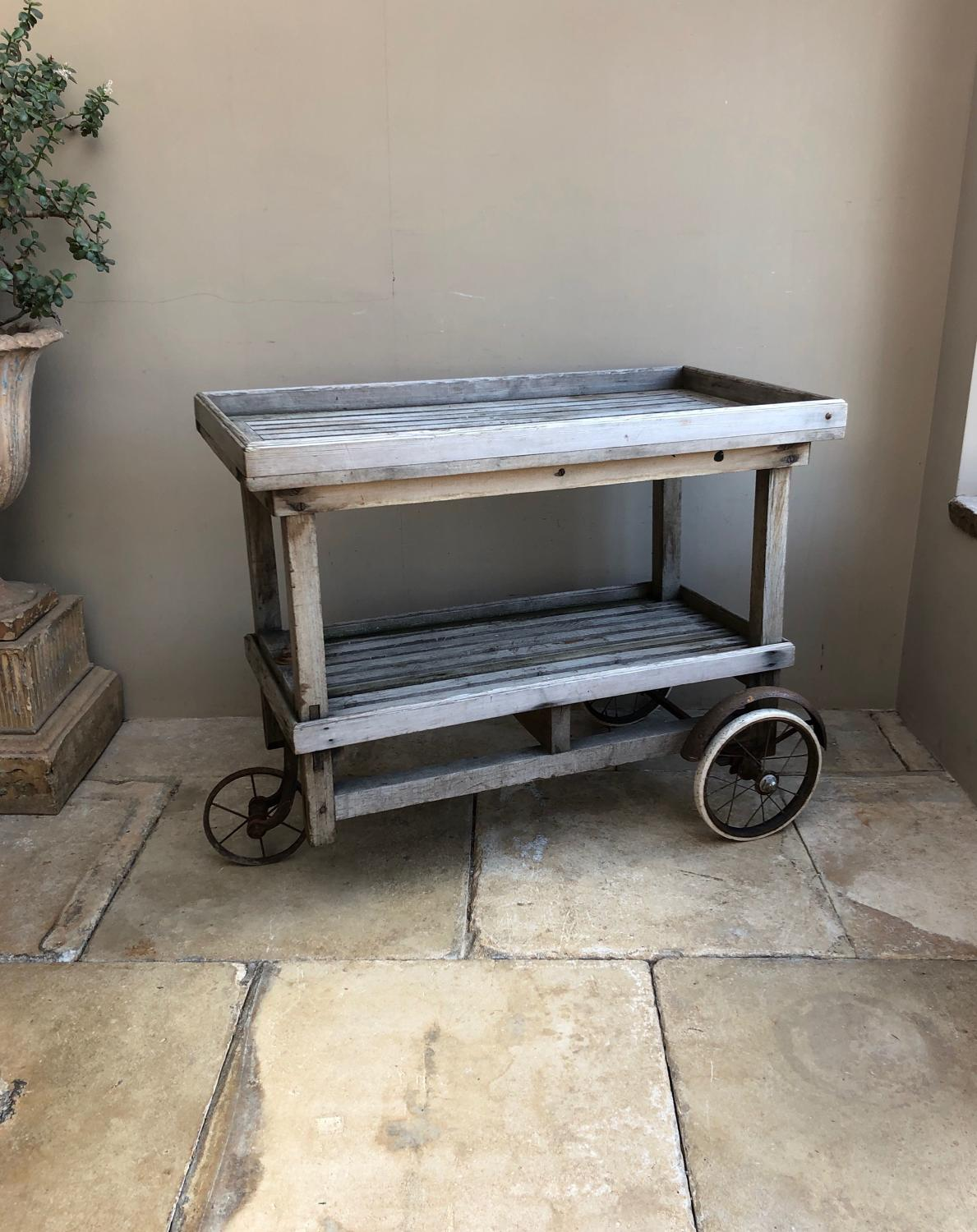 1920s Bleached Oak & Pine Slatted Pool Side Trolley on Wheels