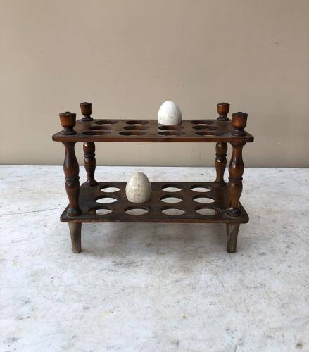 Victorian Treen Two Tier - Two Dozen Egg Rack - Turned Column Supports